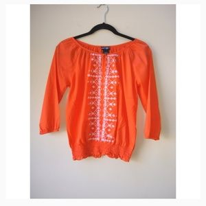 Lord & Taylor 100% Cotton Embroidered Blouse.